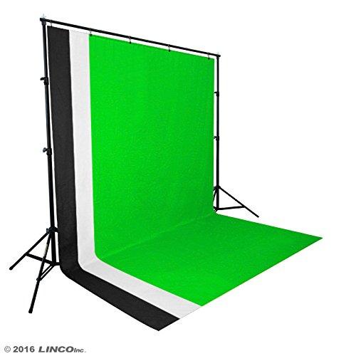 Linco Lincostore Photo Video Studio Light Kit AM174 - Including 3 Color 5x10ft Backdrops (Black/White/Green) Background Screen