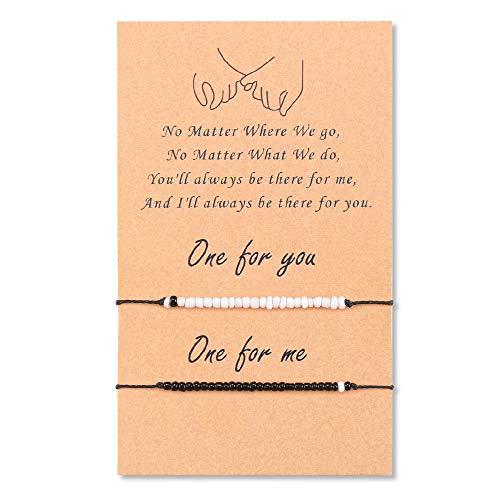 YELUWA Distance Matching Pinky Promise Bracelets for Women Teen Girls Best Friends Couple Family Adjustable Waterproof Handmade Cord Friendship Relationship Bracelet for 2, Black/White Beads