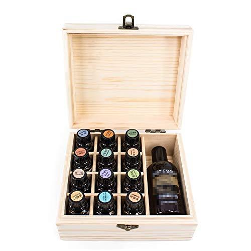 Huile essentielle Boîte en bois 13 Fente Essential Oil en bois Box Holder Organisateur Pochette de rangement huile essentielle organisateur boîte en bois ( Couleur : Natural , Taille : 15X17X8CM )