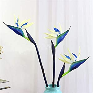 DETOAM 90 cm Silicone Bird of Paradise Artificial Flowers Family Party Flower Home Decoration Living Room Hotel Decorations (Color : Blue, Size : 90cm)