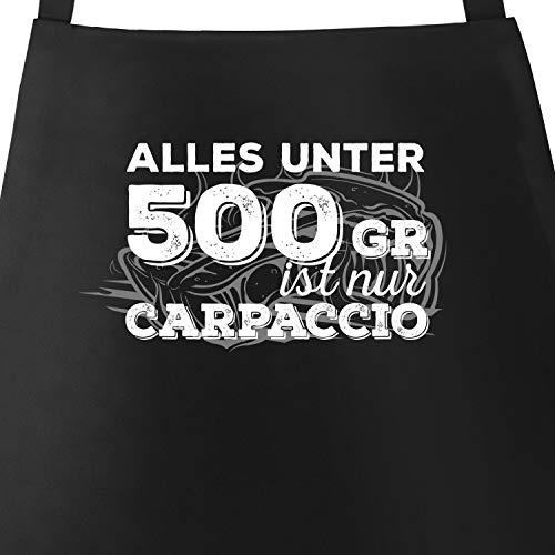 MoonWorks Grill-Schürze für Männer mit Spruch Alles unter 500g ist nur Carpaccio Herren Schürze zum Grillen schwarz Unisize