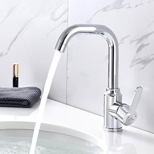 Auralum Waschbeckenarmatur mischbatterie Badarmatur Waschtischarmatur für bad, armatur waschbecken wasserhahn mit 60cm Auslaufrohr aus Edelstahl, chrom