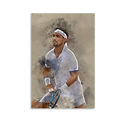 WODEWO - Poster da tennis con stella sportiva Fabio Fognini in HD con ping-pong, decorazione da parete, per soggiorno, camera da letto, 50 x 75 cm