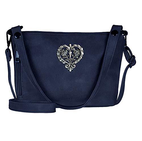 Trachten-Handtasche Dirndltasche Umhängetasche Kunst-Leder dunkel-blau