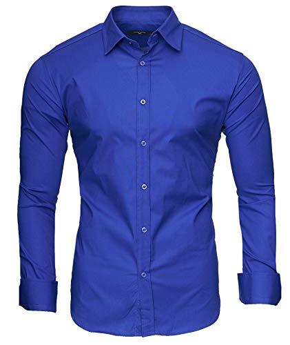 Camisa azul electrico hombre