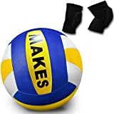 Pelota Voleibol y Rodilleras para Volleyball Balón Tacto Suave Talla 5 Tamaño y Peso Oficial Unisex Adulto, al Aire...
