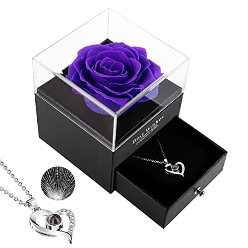 Rose Necklace Gift Box, Natural Fresh Rose, Jewelry Gift Box Rose Flower, The Best Choice Gift for Birthday, Valentine