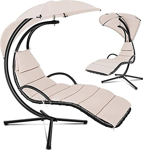 tillvex Hängeliege mit Gestell und Sonnendach Beige | Schwebeliege Outdoor | Sonnenliege Garten | Relaxliege mit Auflage & Nackenkissen
