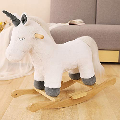 glzcyoo Kids Plush Rocking Horse Ride On Unicorn W/Sound Moving Mouth Children Rocker Toy Gift ,Rocking Animal for Infant/Toddler Girl&Boy (Color : A)