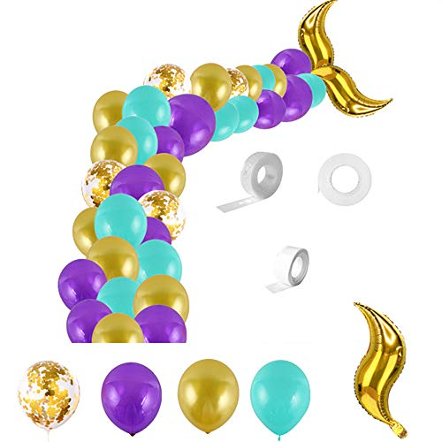 Mermaid Tail Balloon Chain Set, JUNKAI Mermaid Party Supplies Mermaid Arch Kit for Mermaid Birthday Supplies, Under The Sea Party, Ocean Theme Party Supplies, Undersea Prefabricated