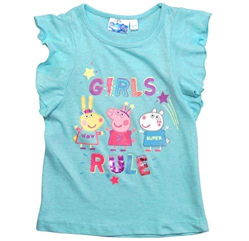 Peppa Wutz T-Shirt Mädchen mit Wendepailletten (Blau, 92-98)