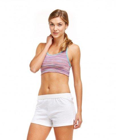 Soffe Women's Elastic Waistband V Notch Legs Jersey Short, White, X-Small