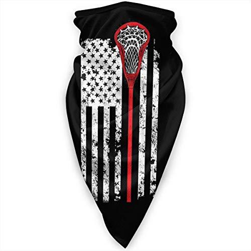 Neck Warmer Bandera De Estados Unidos Lacrosse Vintage. Cara Cubierta De Trabajo Al Aire Libre Mujer Colorida Bandanas Cuello Polaina Calentador Hombres A Prueba De Viento 24X51Cm