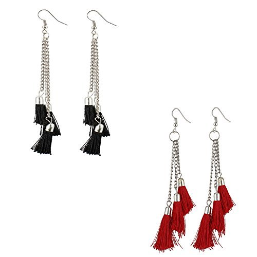 Radhna Tassel Base Metal Tassel Earrings For Women & Girls Multicolor - Indian Traditional Design With Bollywood Style Touch For Wedding Or Any Other Functions