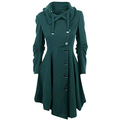 Janly Clearance Sale Abrigo para mujer, de lana sintética para mujer, abrigo grueso, para invierno, Navidad, color verde y XL
