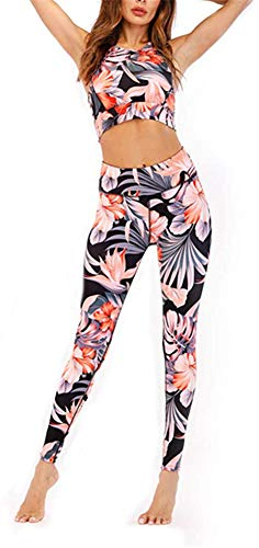 Geagodelia Damen Yoga Trainingsanzug Workout Outfit Bunt Blumen 2 Teilig Yoga Leggings High Waist Ärmellos Crop Top Sport BH Fitness Kleidung Set für Gym Zumba Pilates (Orange, M)