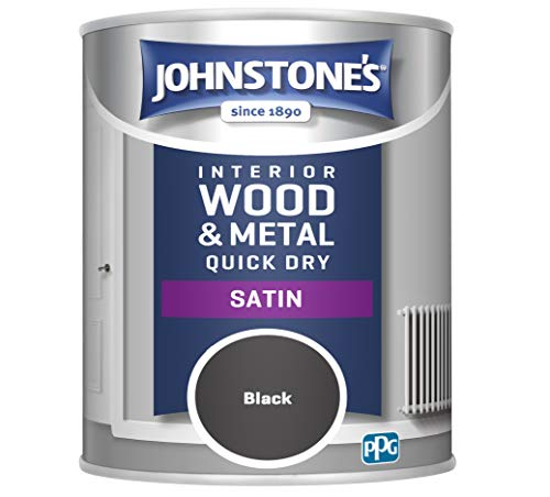 Johnstone's 303913 Quick Dry Satin, Black, 0.75 Litres