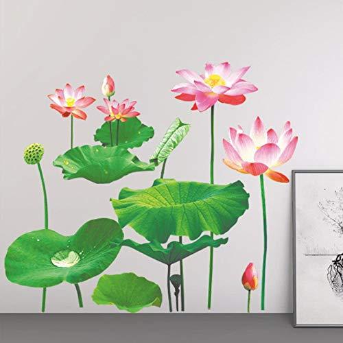 GVC Home Decor 1PCS Simulation Lotus Abnehmbare Vinyl Aufkleber Kunst Wandbild Home Decor Wandaufkleber Wandaufkleber Home Deco Spiegel4