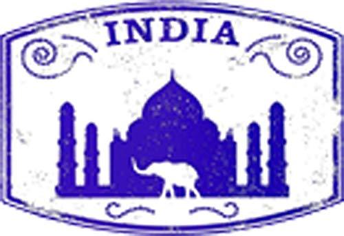 Travel Passport Stamps Asia Countries Adventure Cartoon Vinyl Sticker (4' Wide, India Purple)