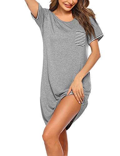 Ekouaer Nightgowns for Women Sleepshirt Short Sleeve Pajama Shirt Soft Sleep Dress Striped Pocket Loungewear Nightshirt
