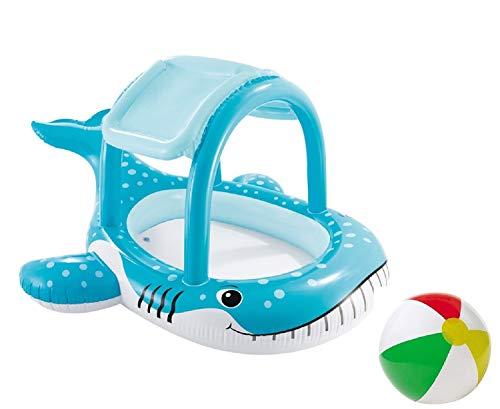 Pool Kinder Baby Aufstellpool Planschbecken Schwimmbecken aufblasbar mit aufblasbarem Sonnendach Dach Sonnenschutz Oval Wal für Garten Terrasse Kinder ab 2 Jahre Größe 211 x 185 cm