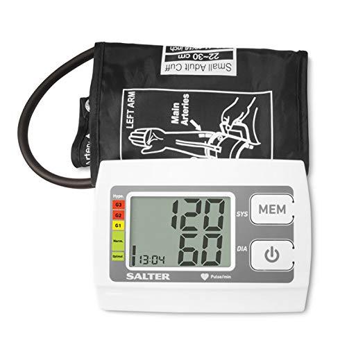 Salter Monitor de presión arterial automático de brazo superior para uso en el hogar, detector de latidos cardíacos, indicador de hipertensión
