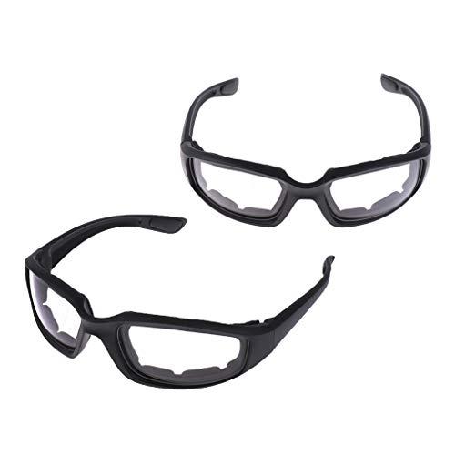 Almencla 2 Paar Motorradbrille Bikerbrillen Schutzbrille, Anti-Fog, UV-Beständig, Kratzfest, Winddicht
