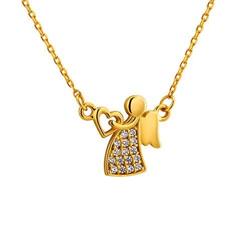 fish Meisjes hals-gouden ketting 333 goud hanger beschermengel met Swarovski Elements helder in lengte verstelbaar sieradenetui geschenk voor de geboorte