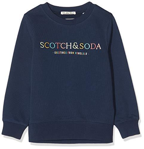 Scotch & Soda Shrunk Jungen Artwork-Logo Sweatshirt, Blau (Night 0002), 164 (Herstellergröße: 14)