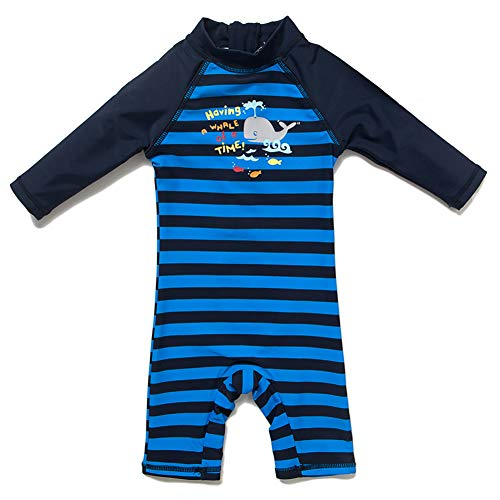 Kid's One Piece Zip Swimsuit with Sun Hat Baby UPF 50+ Sun Protection Beach Sunsuit (Navy(l/s), 3-6 Months)