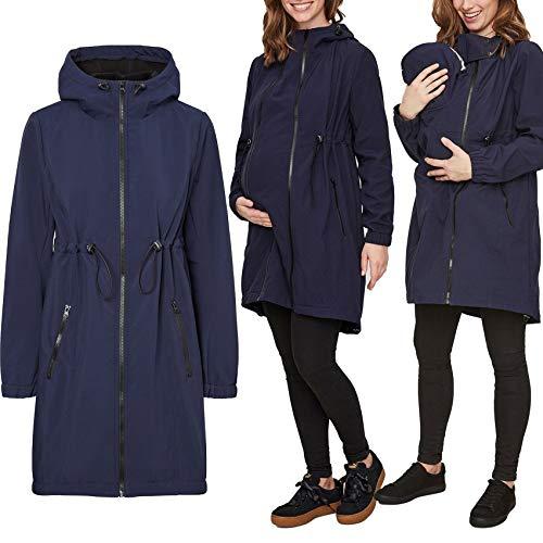 Mamalicious 3-in-1 Softshell Jacke Trage Schwangerschaft Baby, Farben:Navy, Größe:XL