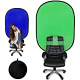 Konseen グリーンバック zoom 椅子に取り付ける 120x180cm クロマキー 背景 折り畳み式 ブルー/グリーン 一枚両色 簡単収納 背景パネル