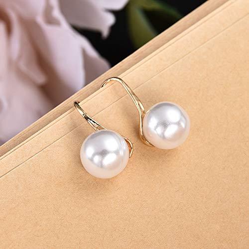 ZYJ Moda 1 Par Mujeres Señora Elegante Perla Cristal Rhinestone Pendientes de botón Pendientes Joyas Pendientes Lindos,Gold
