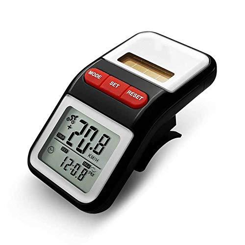 OUY Fahrrad-Tachometer Solar-Dual-Power Electronic Pedometer Pedometer Zeit-Entfernungsmesser-Fahrrad-Chronometer Schwarz Fahrrad Stoppuhr (Color : Black, Size : 70x40x26mm)