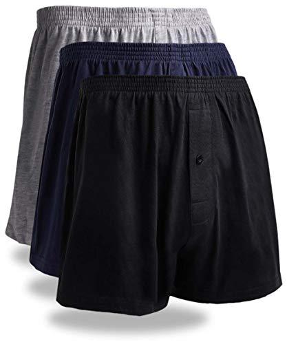 パンツ メンズ 下着 ニットトランクス 前開き ブラック 黒 3枚セット LL サイズ 吸水速乾 ボタンあり (3色, LL)