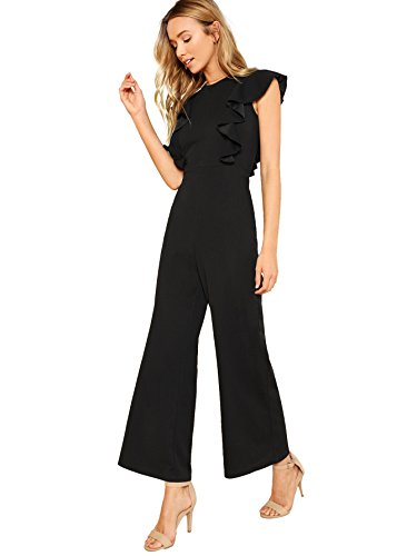 Romwe Women's Sexy Casual Sleeveless Ruffle Trim Wide Leg High Waist Long Jumpsuit Black_Upgrade Small