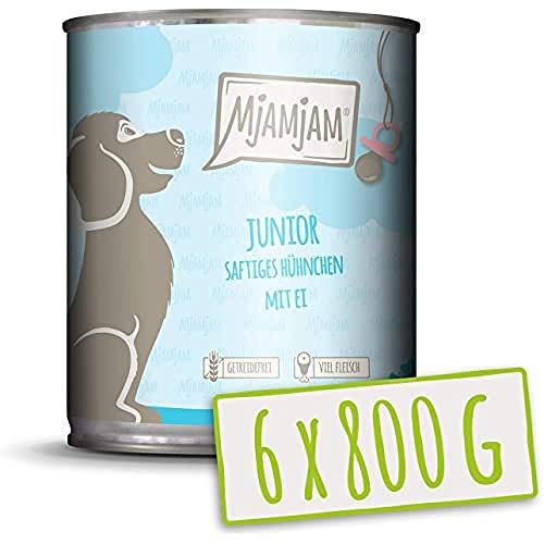 MjAMjAM Mangime Umido per Cuccioli, Pasto per Cuccioli di Cane, con Pollo Succoso e Uovo, Genuino - Pacco da 6 x 800 g