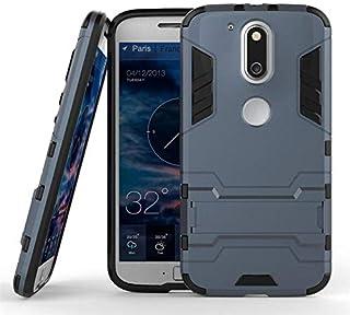 جراب هاتف موتورولا موتو G4 بلس أيرن مان صلب من البولي كربونات وبطانة مطاطية ناعمة ومسند وعرة - أزرق داكن