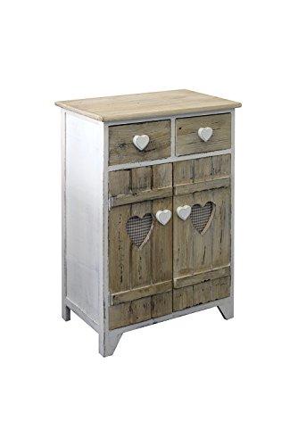 Rebecca Mobili Armadietto 2 cassetti 2 ante, comodino di legno, bianco beige, shabby, per arredo camera bagno - Misure: 70 x 51 x 30 cm (HxLxP) - Art. RE4194