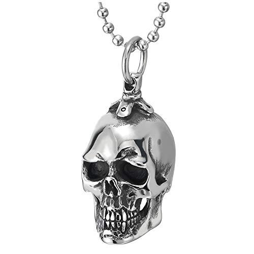 COOLSTEELANDBEYOND Pequeño Colgante de Cráneo, Calavera, Collar de Hombre, Acero, Espejo Pulido, Cadena de Bolas 60CM
