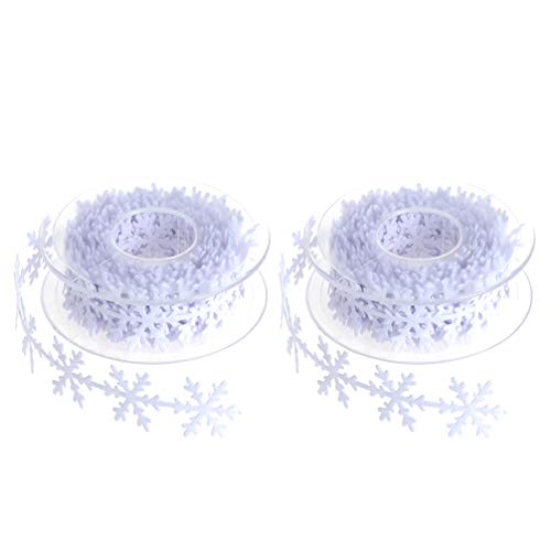 HEALLILY Snowflake Christmas Ribbon for Gift Wrapping, Wreath Decoration, Garland, Tree Topper Bow Gift Wrapping Ribbon for Women 2 Pcs