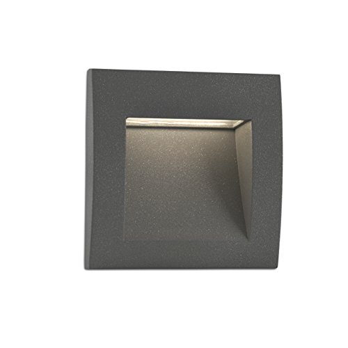 FARO BARCELONA 70148 - Senda Empotrable (Bombilla incluida) LED, 3W, Cuerpo de Aluminio, difusor de Cristal, Color Gris