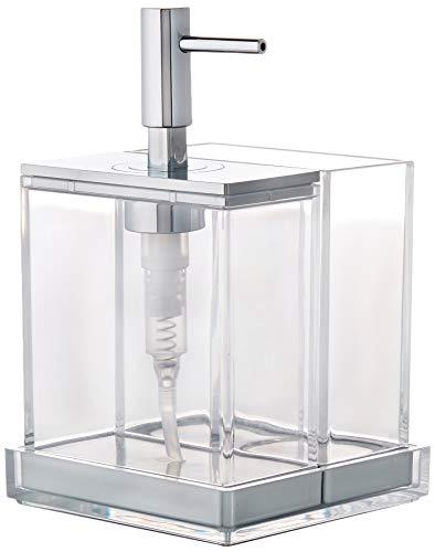 iDesign set van 3 badkameraccessoires voor de wastafel, badkamer accessoires set gemaakt van robuust kunststof, met zeepdispenser, 2-delige container & plank, doorzichtig en zilverkleurig