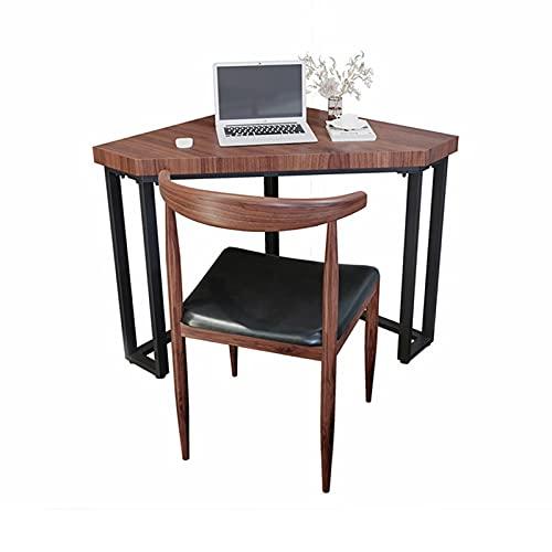 Scrivania Per Computer Scrivania triangolare Home Bango angolo da scrivania semplice Scrivania angolare in stile, struttura in metallo stabile con pad di piedini regolabili, retrò marrone Workstation