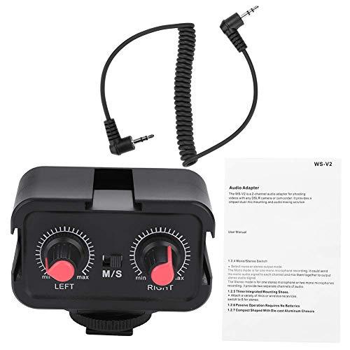 EBTOOLS WS-V2 Adattatore per microfono preamplificatore mixer audio a due canali con ingressi da 3,5 mm per chitarra Canon Nikon Sony DSLR Telecamere Pentax Panasonic