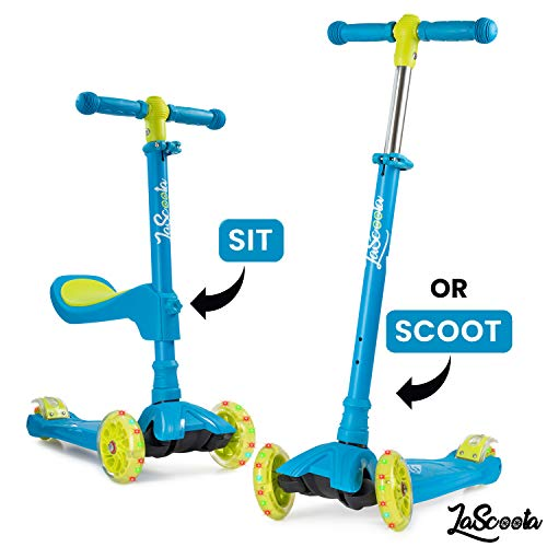 Lascoota 2in1 Kick Scooter with Removable Seat Great for Kids amp Toddlers Girls or Boys – Adjustable Height w/ExtraWide Deck PU Flashing Wheels for Children from 214 Years Old Blue with Yellow