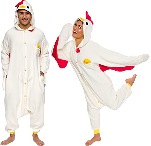 Silver Lilly Unisex Adult Pajamas - Plush One Piece Cosplay Chicken Animal Costume (Beige, Medium)