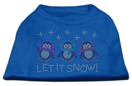 Let It Snow Penguins Rhinestone Shirt Blue Xxl 18