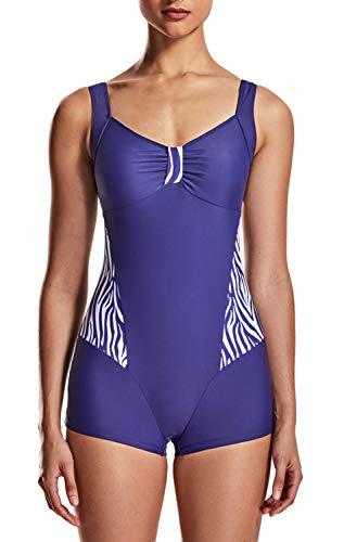 DELIMIRA Damen Badeanzug Schwimmanzug Bein Große Größen mit Körbchen dunkel-lila 46