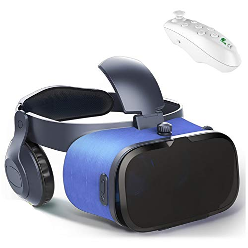 VR Headset Glasses w/ Remote & Headphone, 3D Cellphone Headset VR Virtual Reality for iPhone 11 Pro XS XR X 8 7 6S 6 Plus Android Samsung Galaxy S10 S9 S8 S7 S6 Edge, VR Goggles for Movie Game, Blue